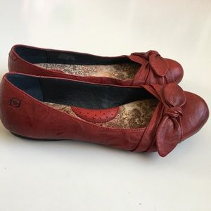 Born Molly Red Leather Ballet Flats Bow Size 9.5